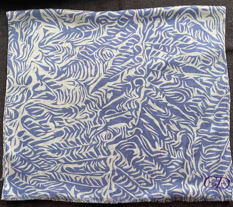 Denim blue and cream fern design pashmina