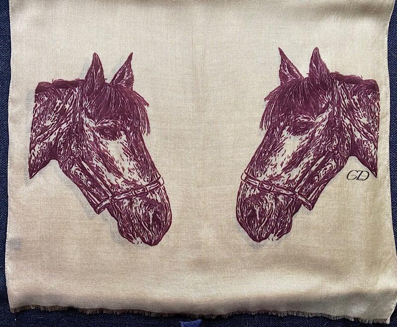 Horse design pashmina . Camel colour