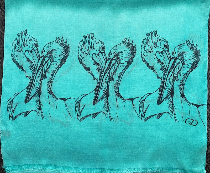 3 pairs of pelicans on blue pashmina
