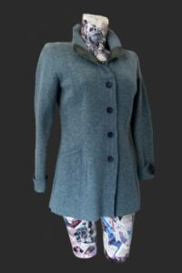 Smart elegant fitted jacket. Caspian Sea green with tweed trim, pockets, stand collar, back and cuff detail