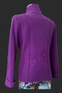 Flower jacket in a rich pinky purple called foxglove. Semi fitted wool jacket
