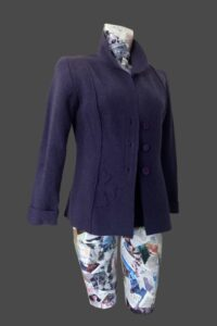Very deep purple jacket semi fitted with flower motif on sleeve, back and one front