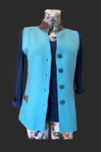 Gilet wool with tweed trim, lovely St Lucia turquoise colour