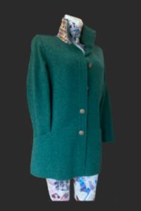 Great jacket for shopping and walking . Big pockets ,trimmed collar and added pocket in sleeve