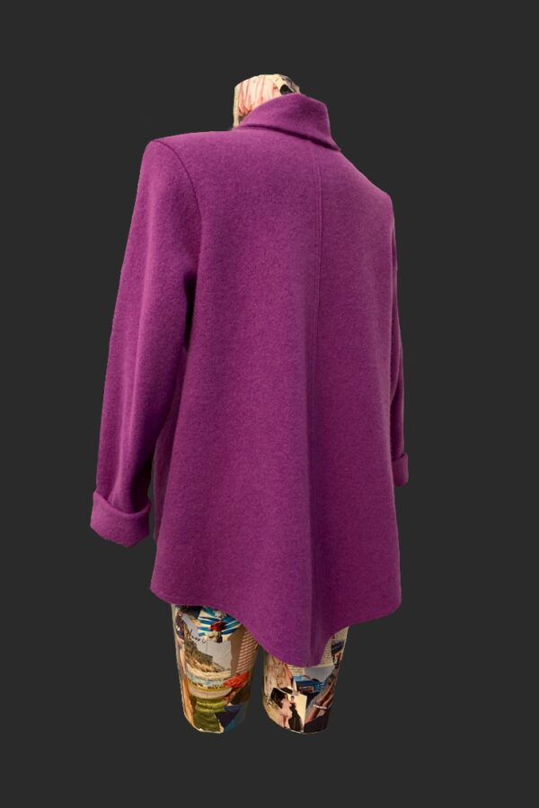 Showing the back of the shaped cardigan