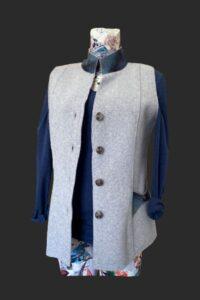 Semi fitted waistcoat, gilet, grey wool gilet, grey waistcoat, big pockets, tweed trim.