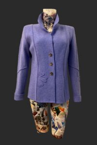 Flower jacket semi fitting with flower motif on the front back and one sleeve