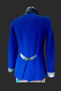 Back detail on sapphire highlander jacket. Low pleat and mock belt