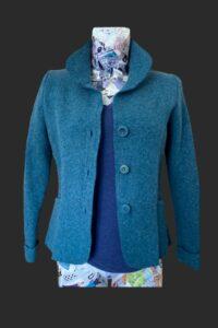 Short length wool jacket, green wool jacket, teal wool jacket, wool jacket,