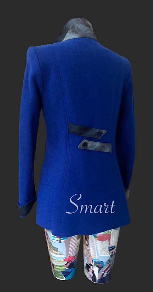 Smart wool jacket to cover the bottom., Royal blue jacket, royal blue wool jacket, blue jacket, smart wool, jacket
