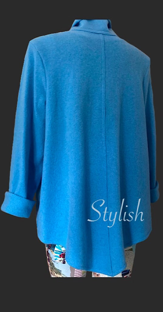 Stylish loose cardigan, light blue cardigan, loose fitting blue cardigan, blue wool cardigan, wool cardigan